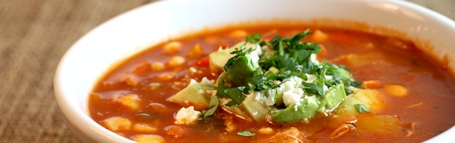 Spicy chili chicken soup with avocado